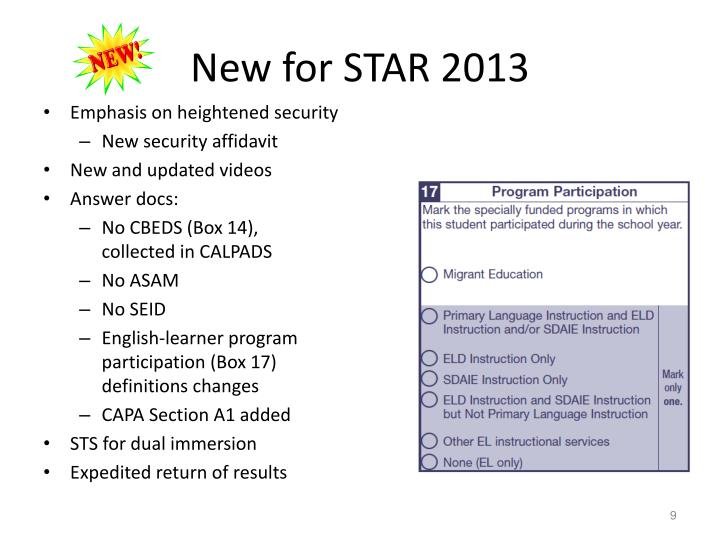New for STAR 2013