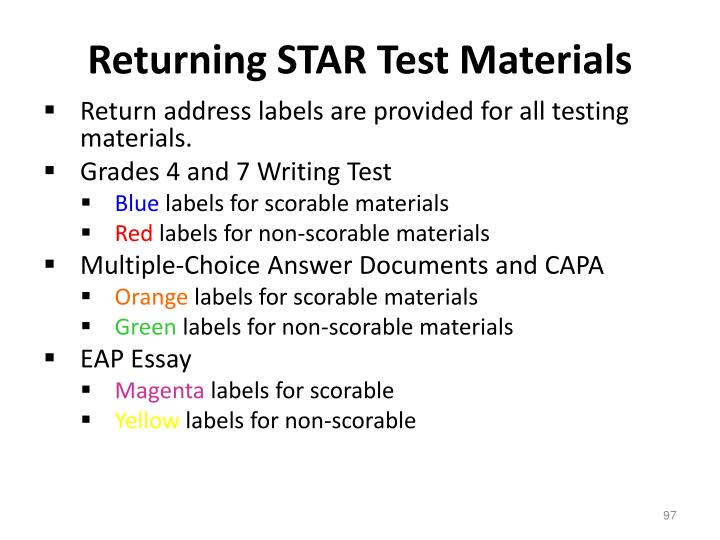 Returning STAR Test Materials