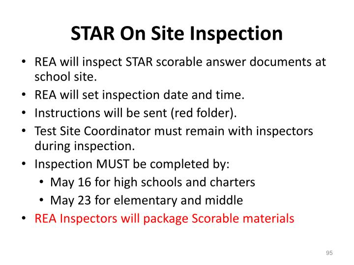 STAR On Site Inspection