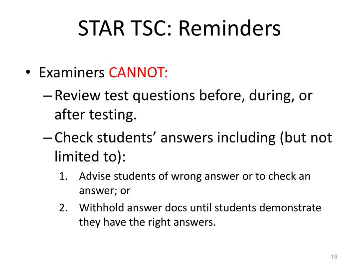 STAR TSC: Reminders