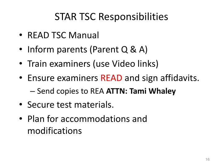 STAR TSC Responsibilities