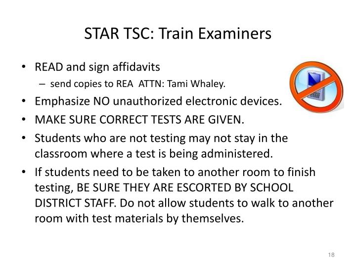 STAR TSC: Train Examiners