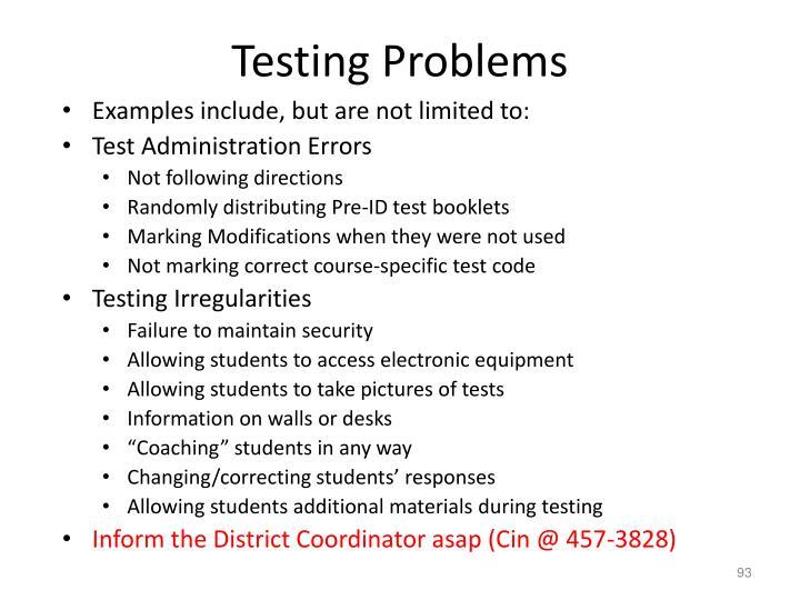 Testing Problems