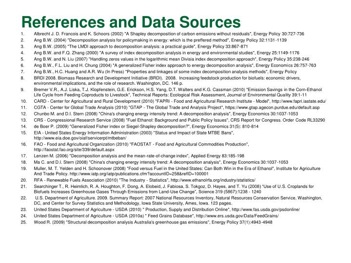 References and Data Sources