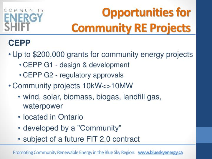 Opportunities for Community RE Projects