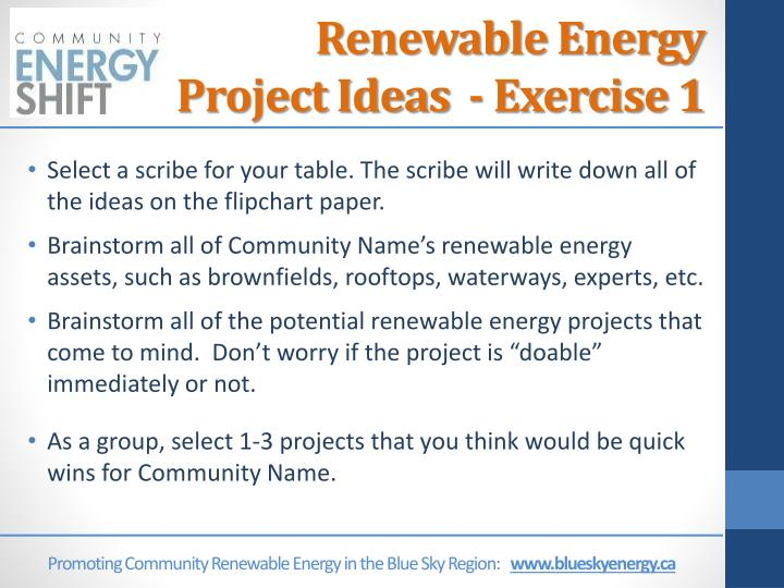 Renewable Energy Project Ideas  - Exercise 1