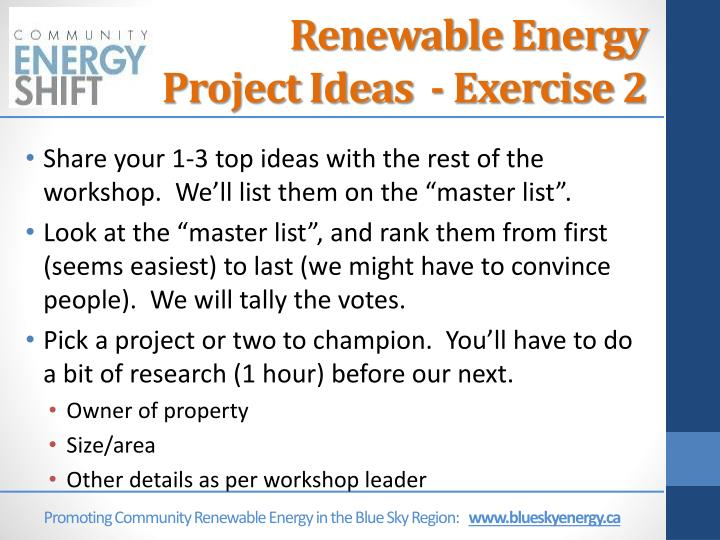 Renewable Energy Project Ideas  - Exercise 2
