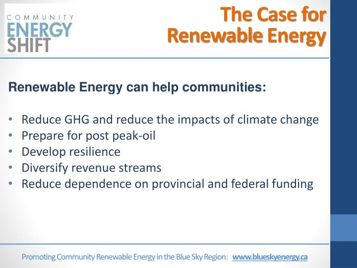 Promoting Community Renewable Energy in the Blue Sky Region: