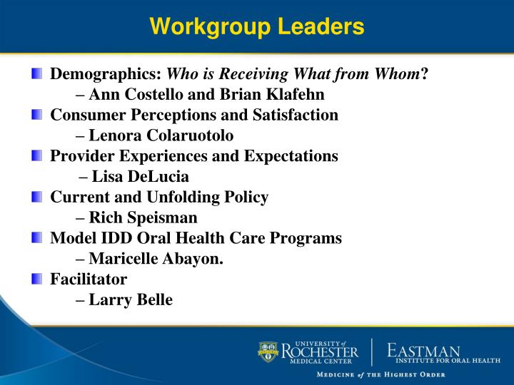 Workgroup Leaders