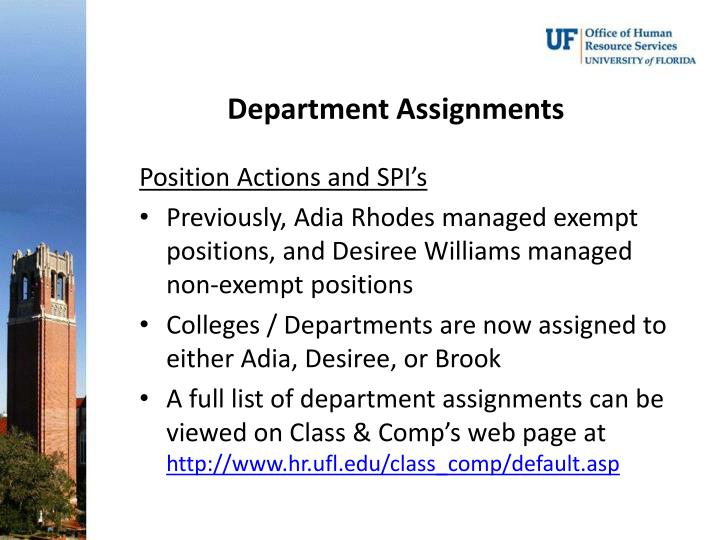 Department Assignments