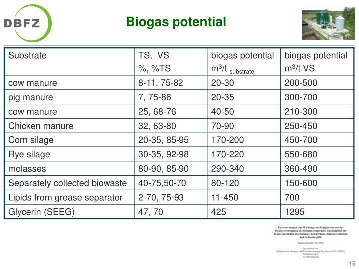 Biogas potential