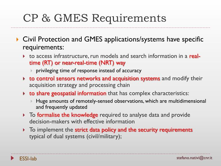 CP & GMES Requirements