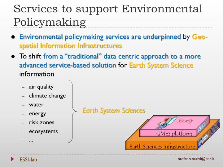 Services to support Environmental Policymaking