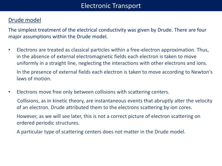 Electronic Transport