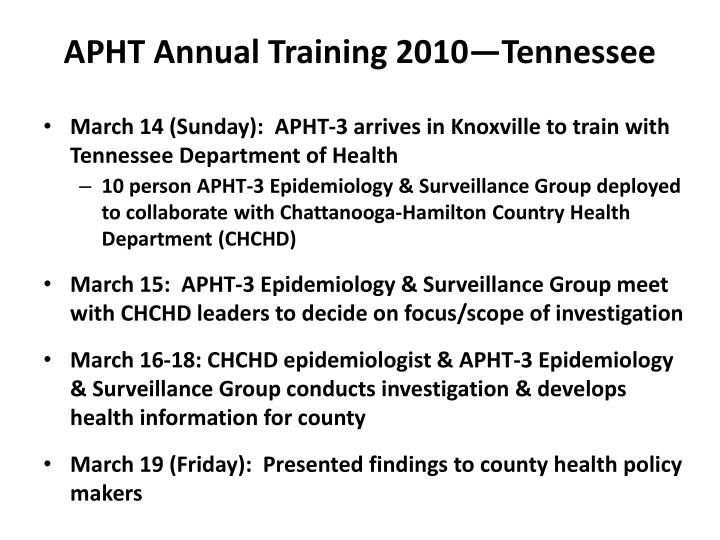 APHT Annual Training 2010—Tennessee