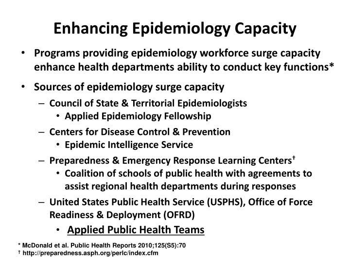 Enhancing Epidemiology Capacity