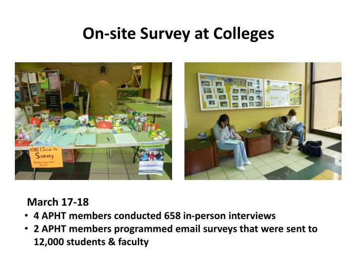 On-site Survey at Colleges