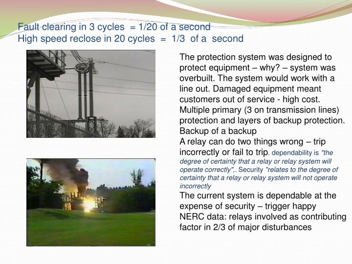 Fault clearing in 3 cycles  = 1/20 of a second