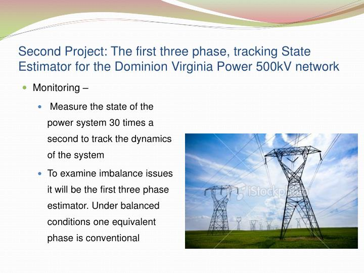 Second Project: The first three phase, tracking State Estimator for the Dominion Virginia Power 500kV network
