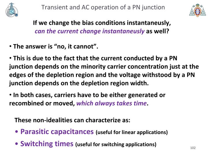 Transient and AC operation of a PN junction