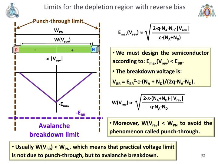 Limits for the depletion region with reverse bias