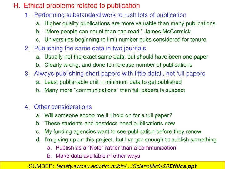 Ethical problems related to publication