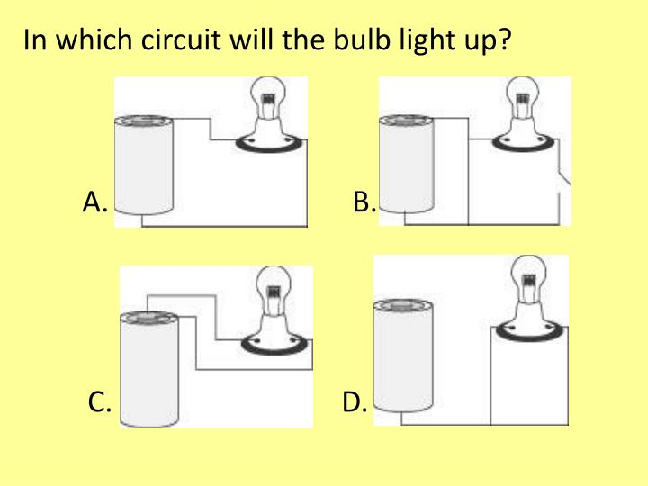 In which circuit will the bulb light up?