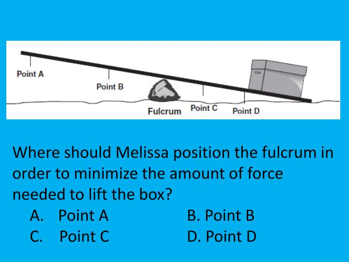 Where should Melissa position the fulcrum in order to minimize the amount of force needed to lift the box?