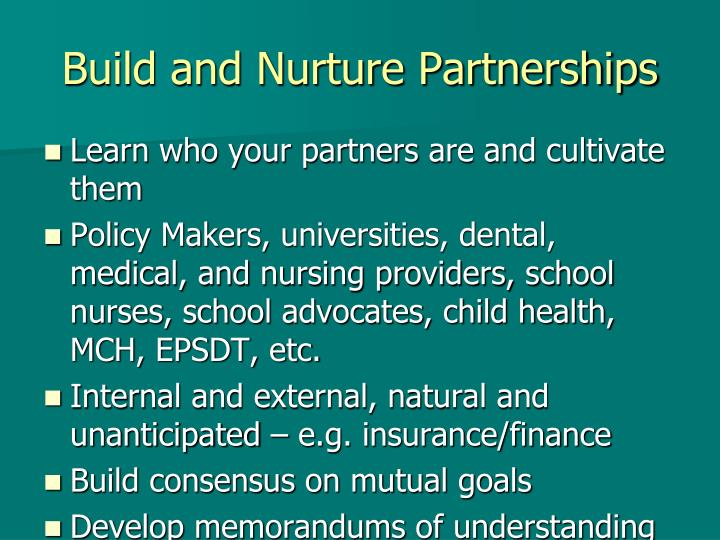Build and Nurture Partnerships
