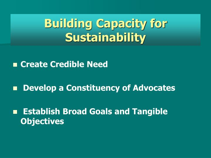 Building Capacity for Sustainability