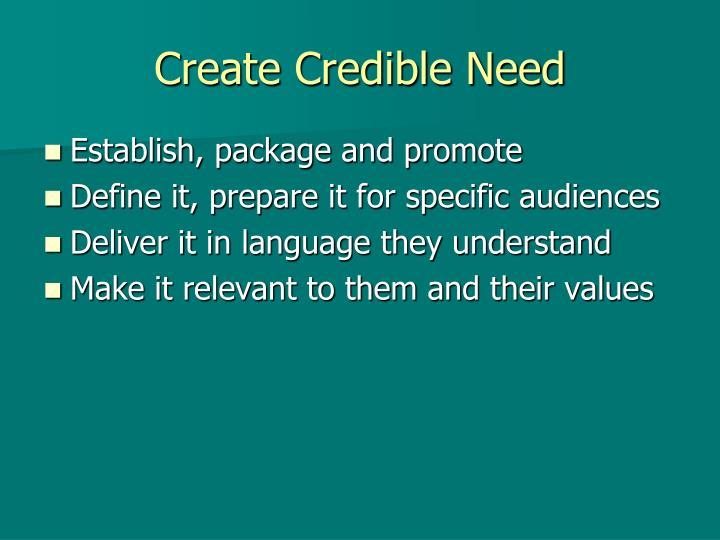 Create Credible Need