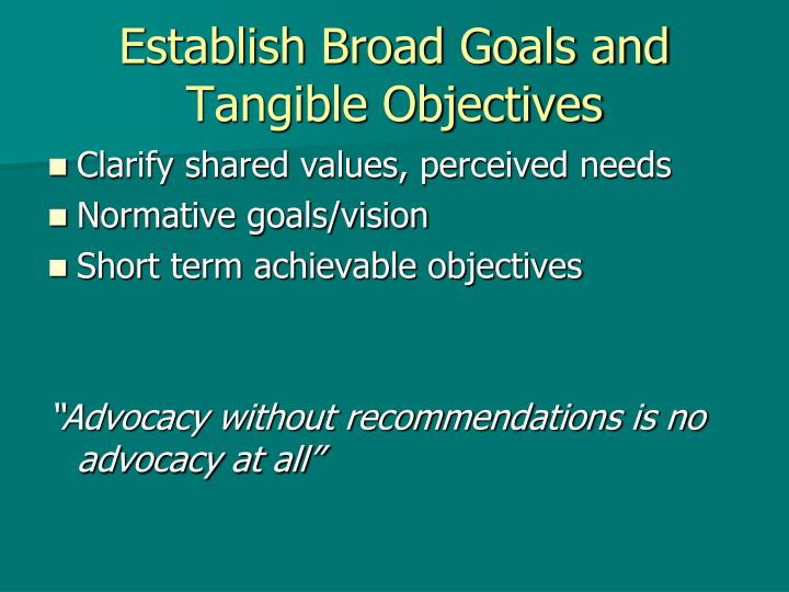Establish Broad Goals and Tangible Objectives