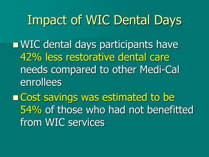 Impact of WIC Dental Days