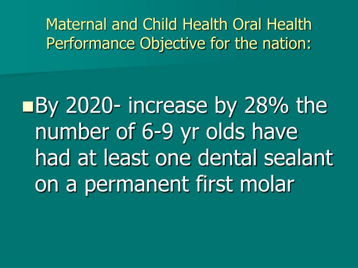 Maternal and Child Health Oral Health Performance Objective for the nation: