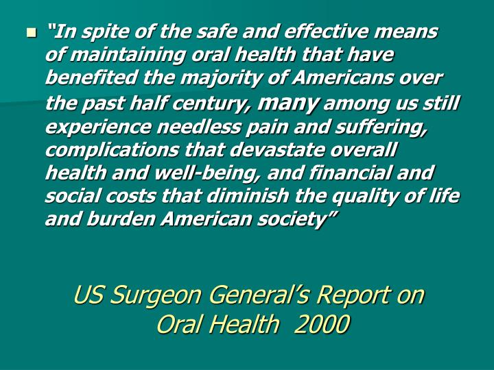 US Surgeon General's Report on