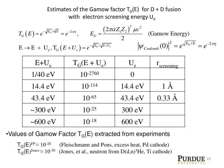 Estimates of the Gamow factor T