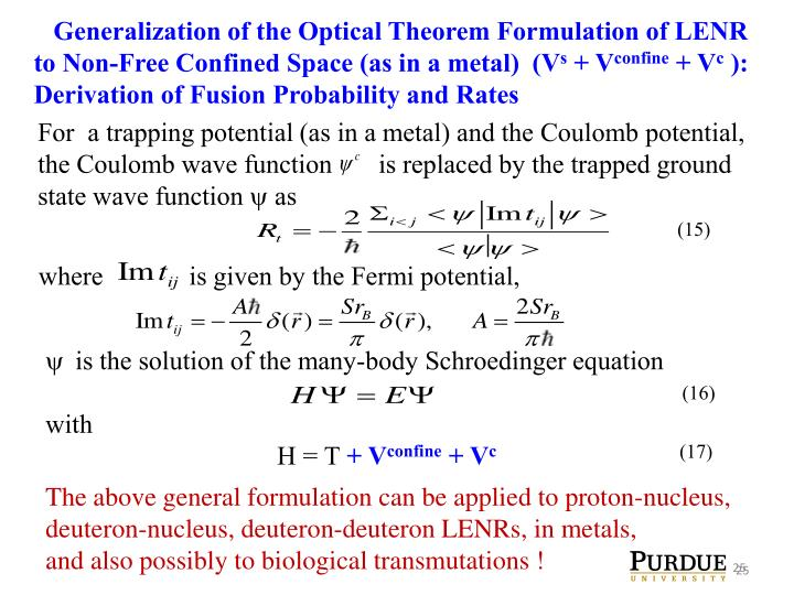 Generalization of the Optical Theorem Formulation of LENR to