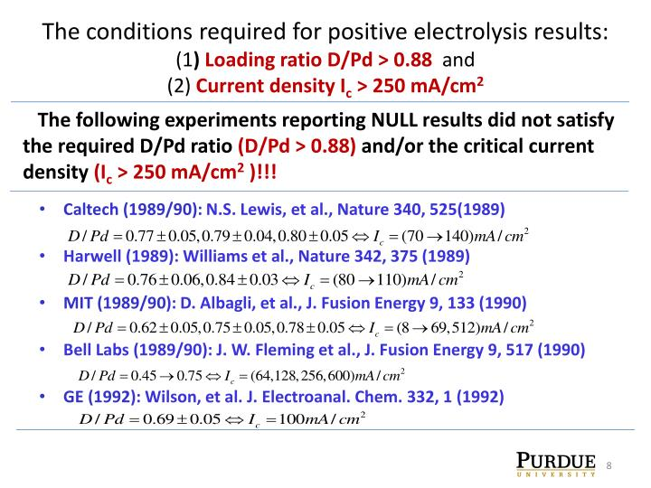The conditions required for positive electrolysis results: