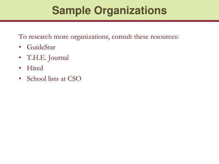 Sample Organizations