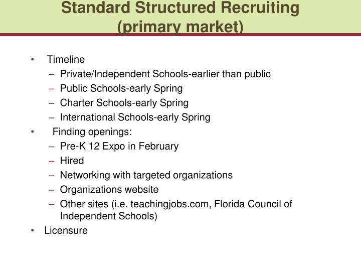 Standard Structured Recruiting (primary market)