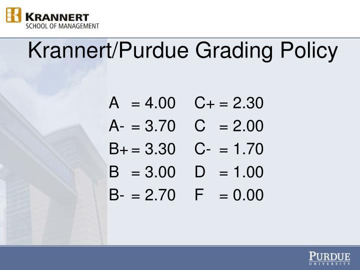 Krannert/Purdue Grading Policy