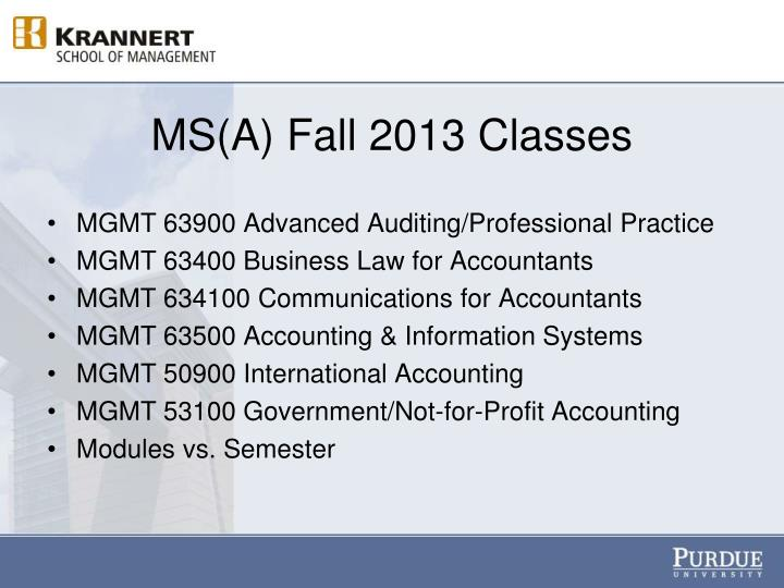 MS(A) Fall 2013 Classes