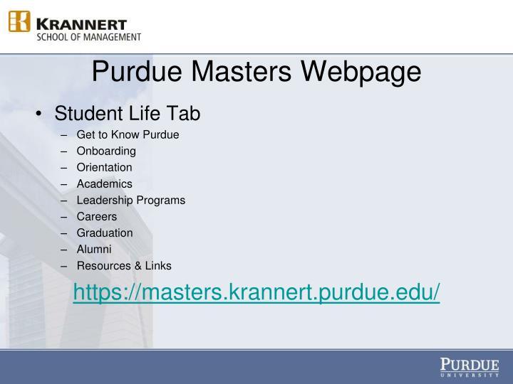 Purdue Masters Webpage