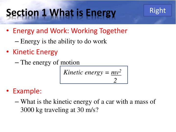 Section 1 what is energy