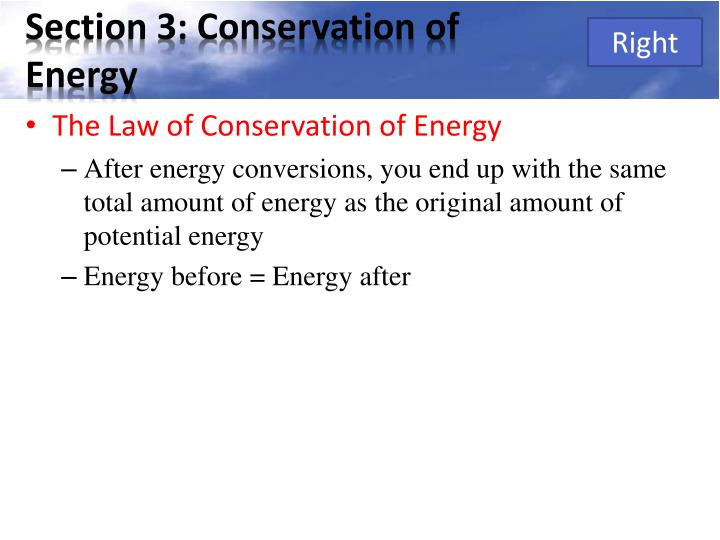 Section 3: Conservation of Energy