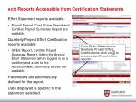 ecrt reports accessible from certification statements