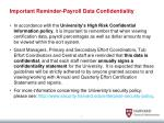 important reminder payroll data confidentiality