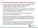 key university guidelines annual effort certifications