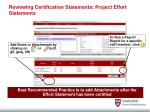reviewing certification statements project effort statements