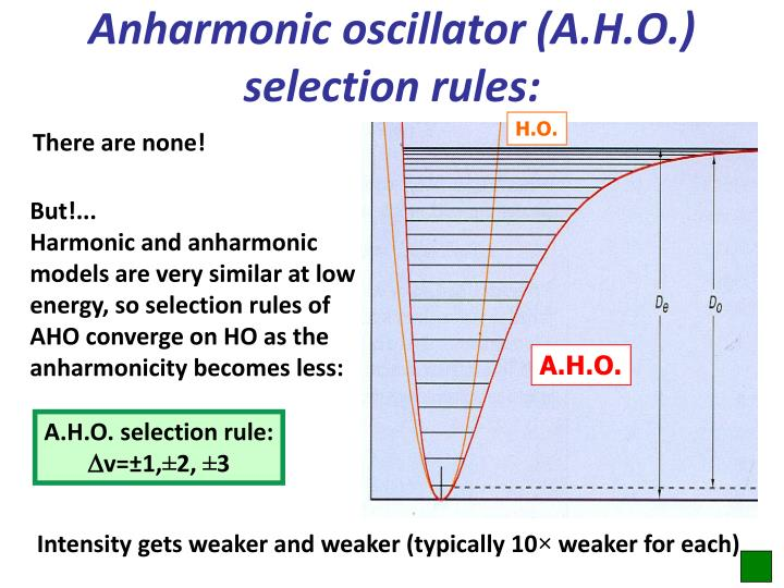 Anharmonic oscillator (A.H.O.) selection rules: